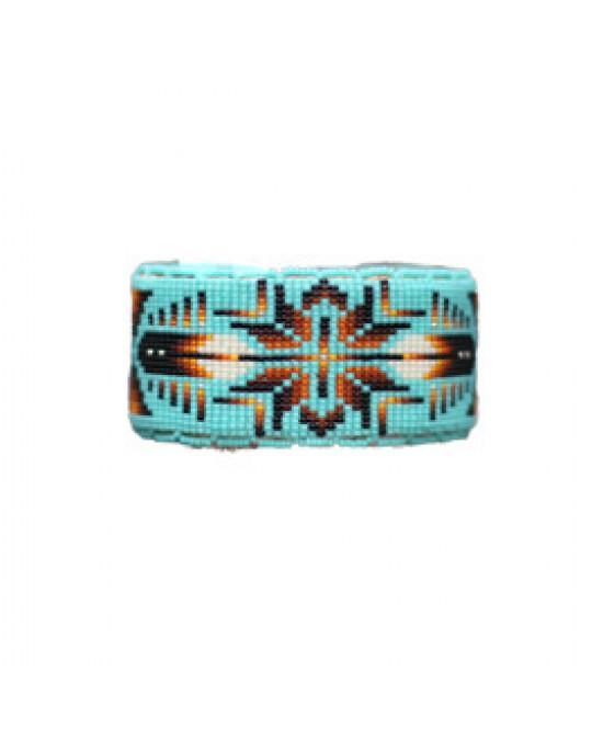 "Sioux / Lakota breiter, verstellbarer Perlenarmreif ""Wicahpi"""