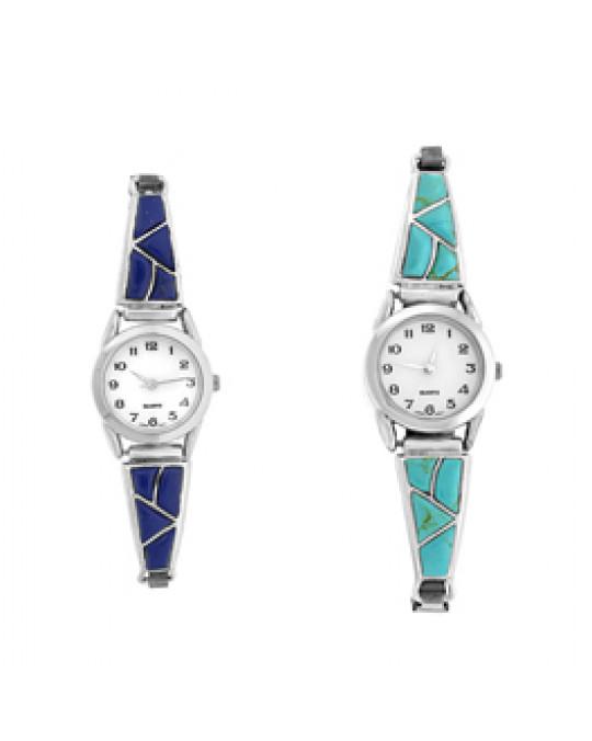 Schmuck Uhr Einlegearbeit -  Lapis Lazuli (dunkelblau)