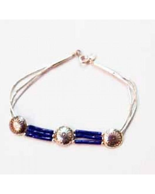 Liquid Silver Armband mit Lapis Lazuli Perlen und Conchas