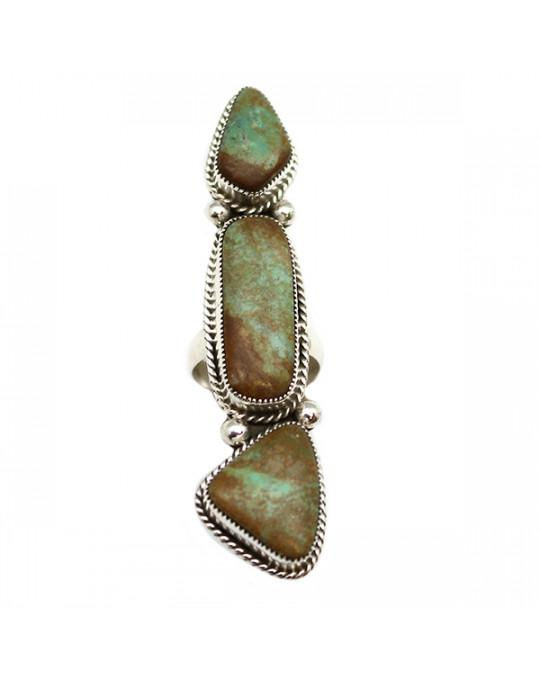 Mega-langer Ring mit 3 grünlichen Türkisen