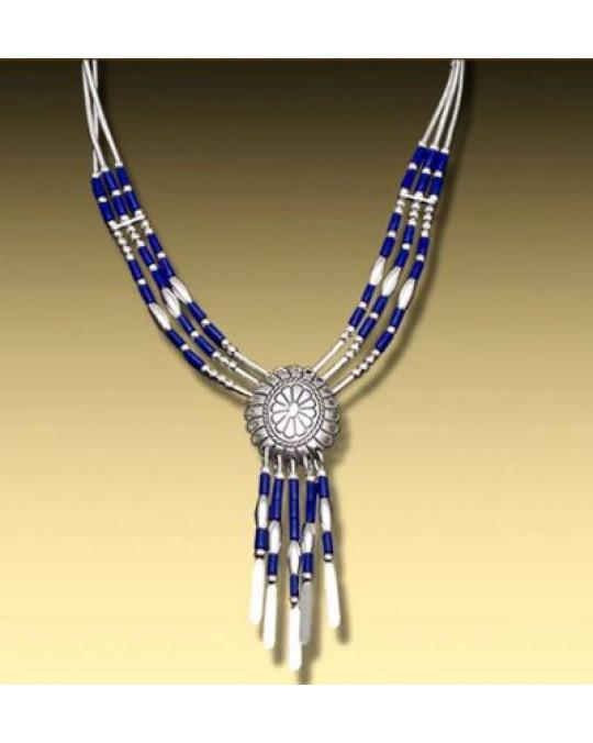 Liquid Silver Concha Collier mit Lapis Lazuli