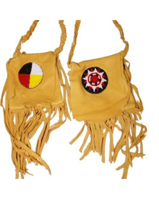 Lederbeutel der Navajo aus weichem, natürlichem Hirschleder, bestickt