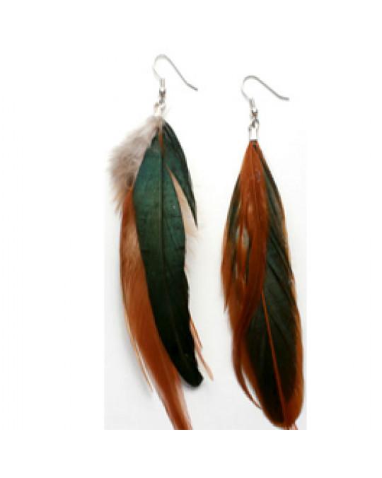 !NEU Ohrringe aus braunen Federn