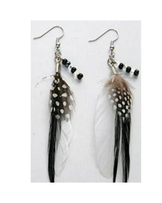 Federn Ohrringe schwarz/weiss mit Perlen