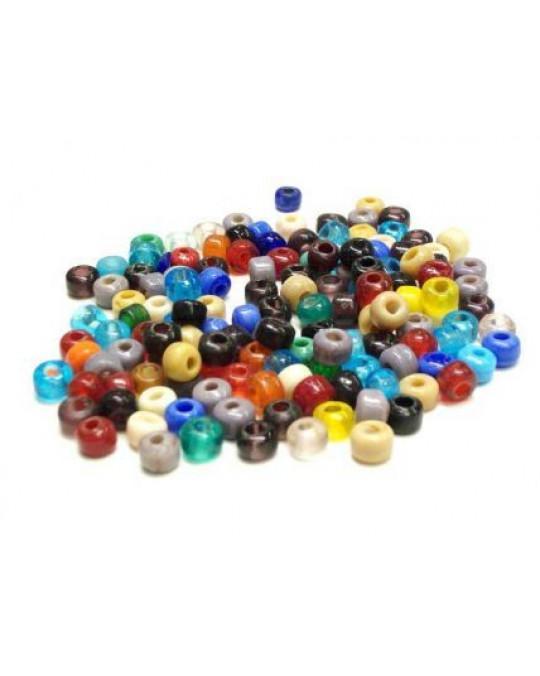 Glasperlen mit grossen Löchern (Crowbeads) Farbmischung