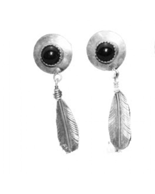 Navajo Ohrringe Onyx