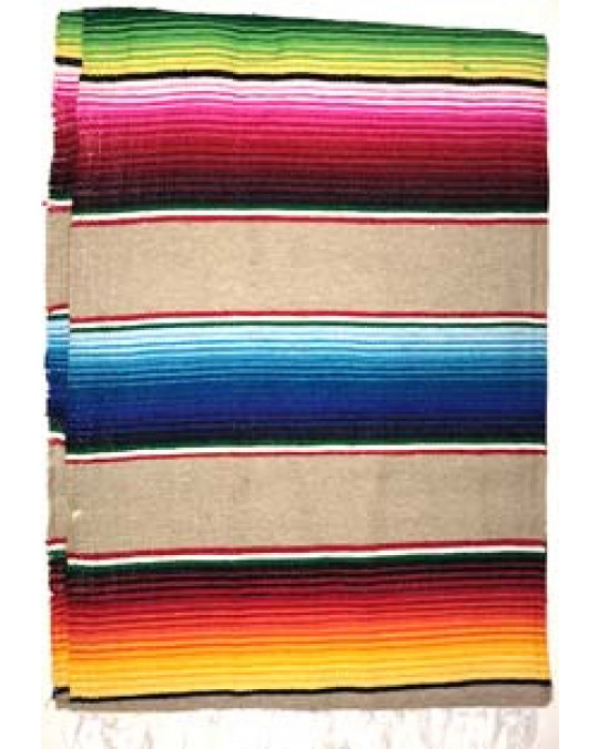 Regenbogen Decke (gross) im mexikanischen Stil, Serape-sand