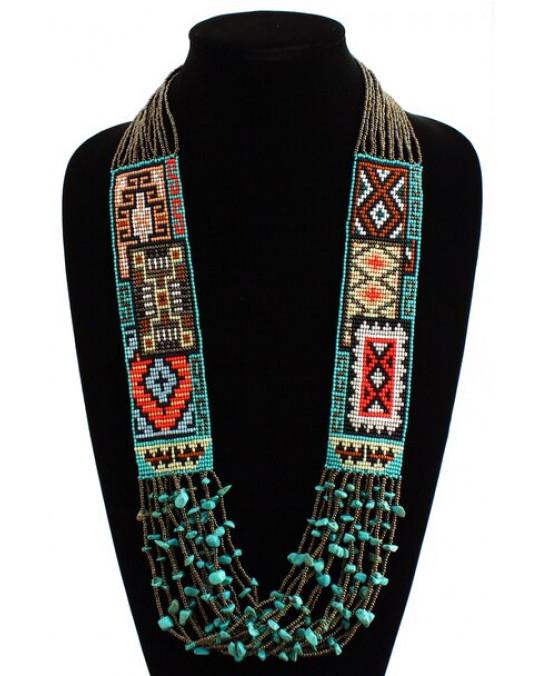 Glasperlenkette aus Guatemala Navajo Teppich Motiv