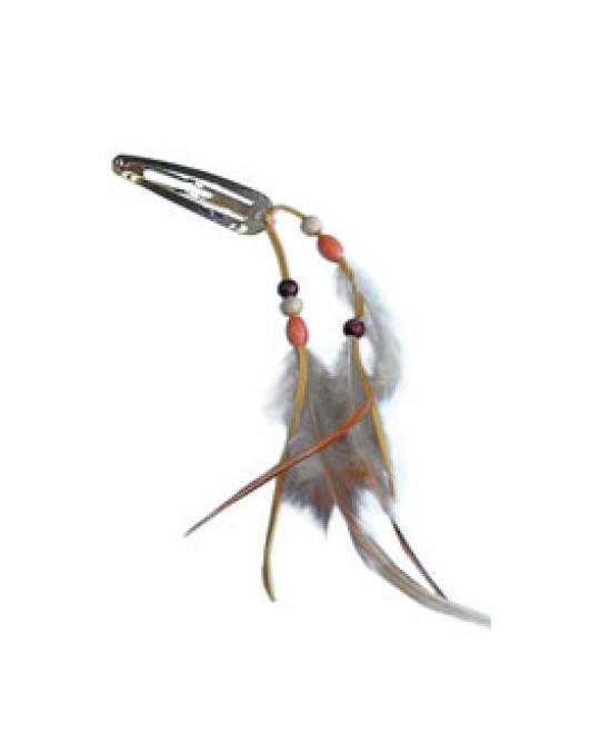 Haarspange mit Holzperlen und  Federn