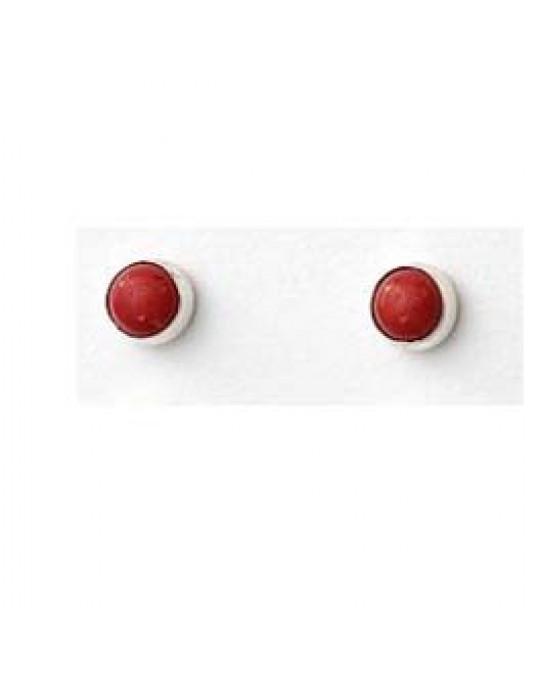 Kleine Stecker  in Silber-rot (Koralle)