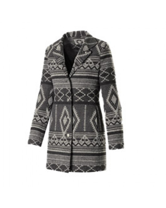 """Oneida"" Grey Geometric Design-  Ethno Jacke für den Winter"