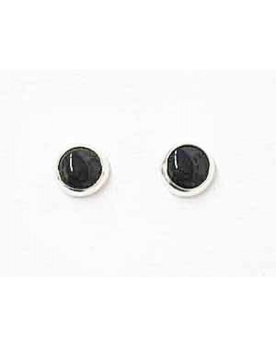 Kleine Stecker  in Silber-schwarz (Onyx)