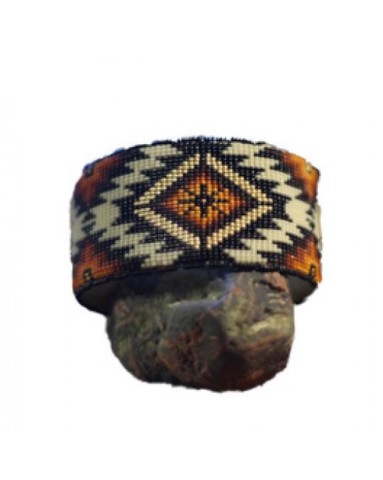 "Sioux / Lakota breiter, verstellbarer Perlenarmreif ""Akisni"""