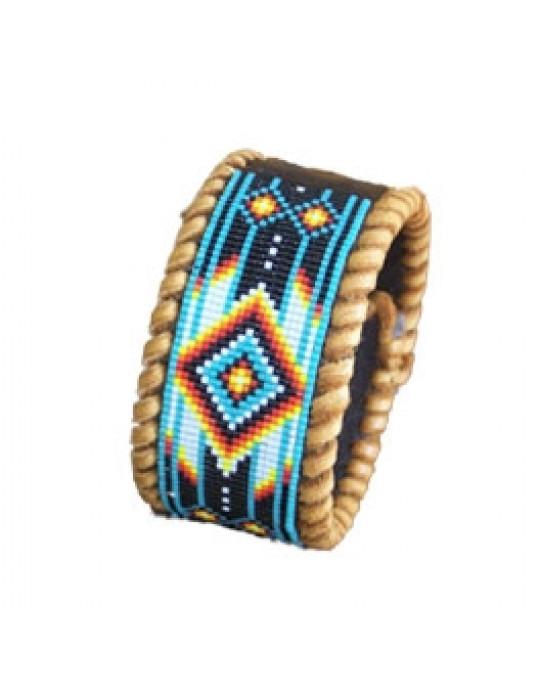 Armband mit Perlenarbeit, indianische Handarbeit - mit Umrandung