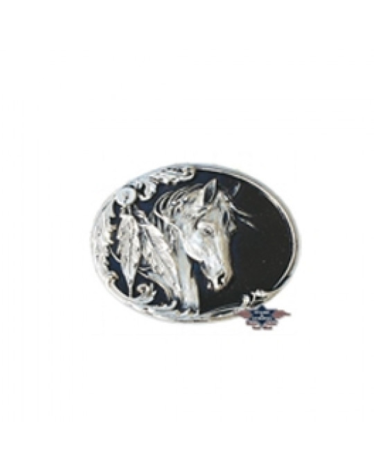 Gurtschnalle aus Zinn, Mustang Design