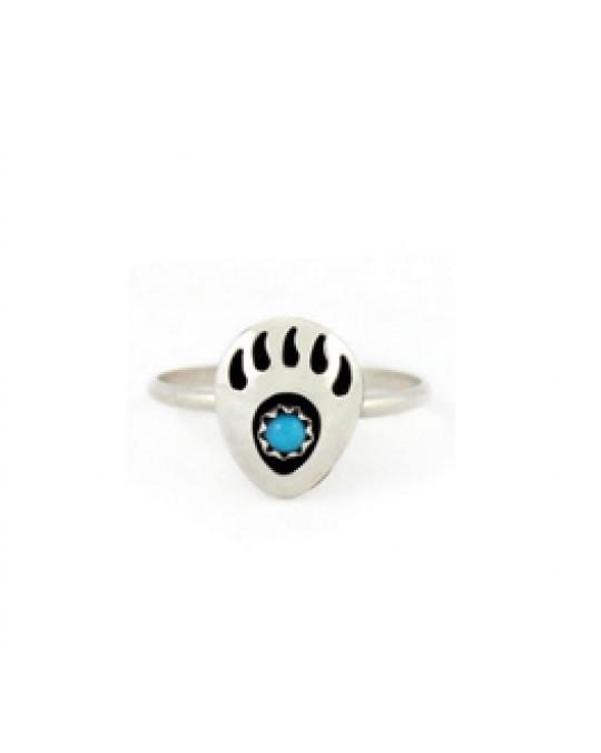 Ring der Navajo mit Bärentatzen-Motiv und Türkis