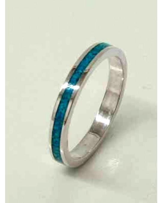 Schmaler Ring mit Einlegearbeit Türkis
