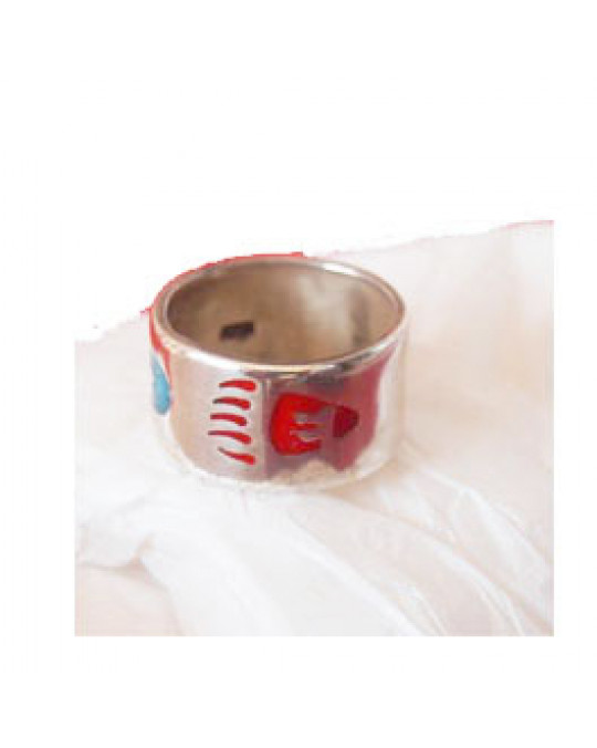 Ring mit Inlay Tatze, rot - Feder mit blauem Inlay