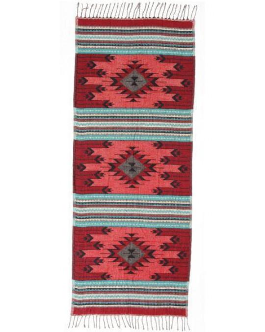 Ethno-Schal in Türkis und Rot, extragross