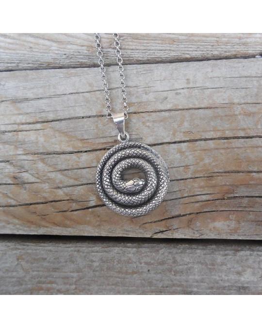 Silberkette mit Schlangenanhänger
