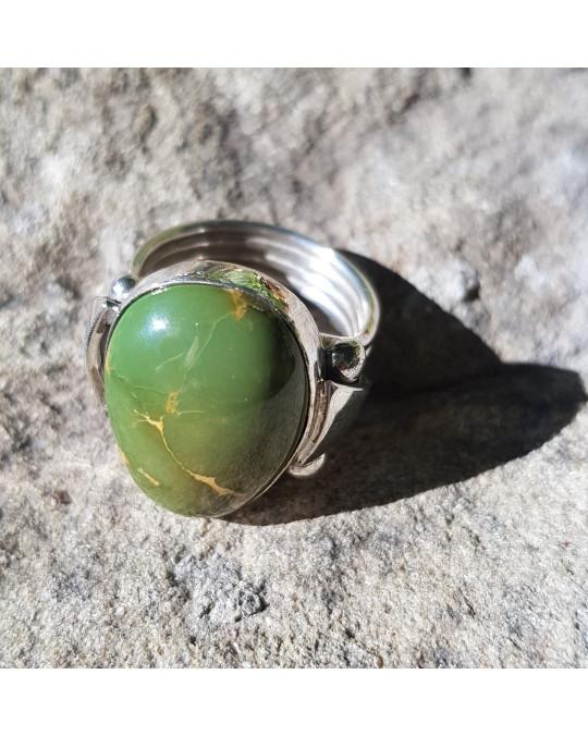 Damen-Herren Ring mit grossem, grünem Türkis