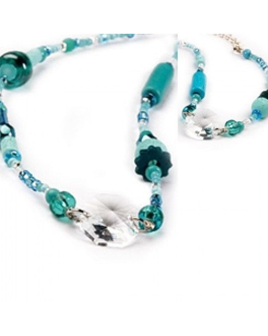 Kette und/oder Armband mit türkisen Perlen und Swarovski Kristall (Ojibway Handarbeit)