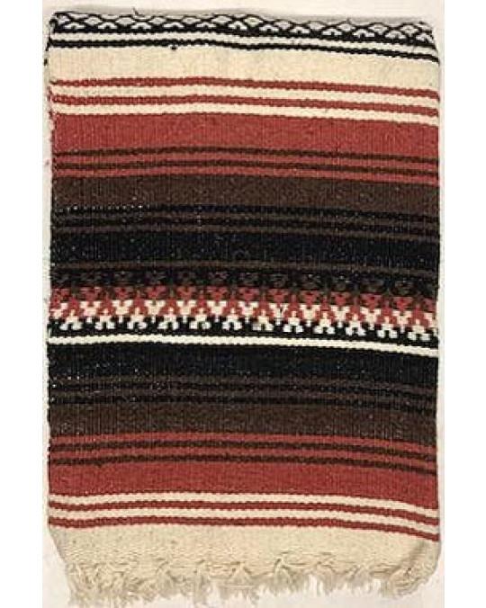 Schwere, original mexikanische Decke aus 100 % Wolle-Braun-rost-beige