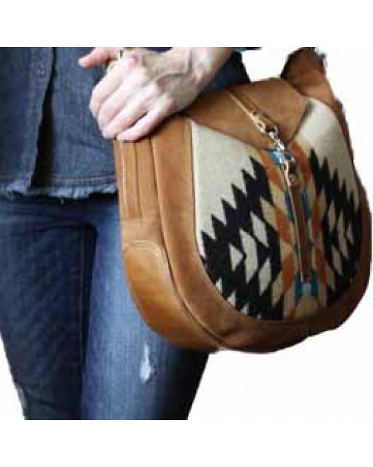 Trendige Ethnotasche aus Wollstoff und Leder, Saddlebag Style