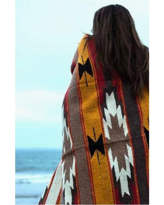 Schwere, extragrosse Decke/Teppich aus 100 % Wolle in Erdtönen