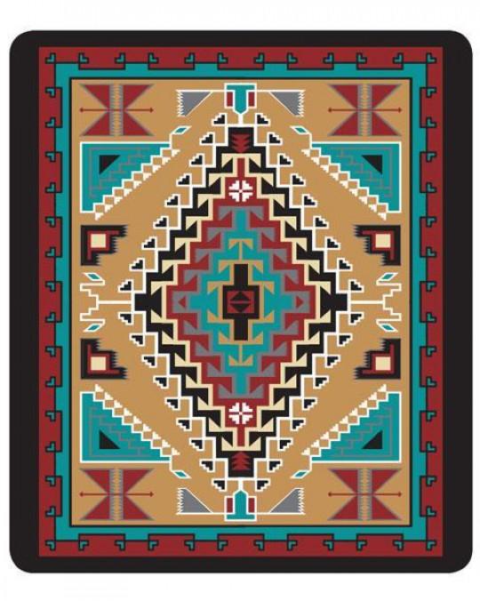 Kuschelige, dicke Plüsch Decke Queen Size, indianisches Muster