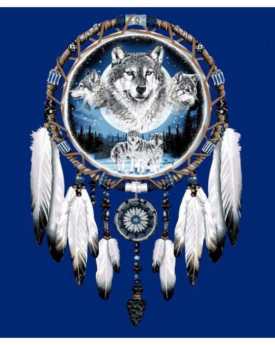 Kuschelige, dicke Plüsch Decke Queen Size, Medizinrad mit Wölfen