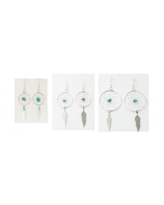 Traumfängerohrringe aus Silber in 3 Grössen