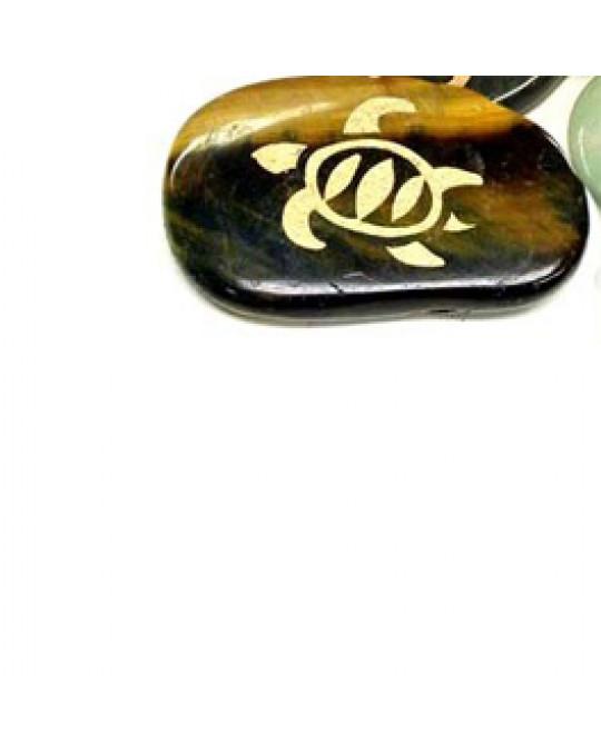 """Krafttiersteine, Totemsteine - """"Gold"""" Gravur Schilkröte"""