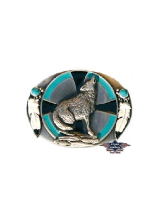 Gurtschnalle aus Zinn, Wolf Design