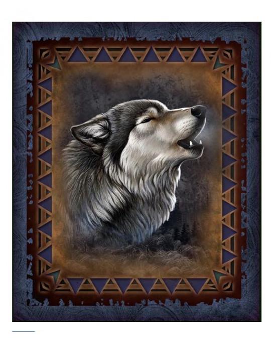 Kuschelige, dicke Plüsch Decke Queen Size, Adirondack Wolf