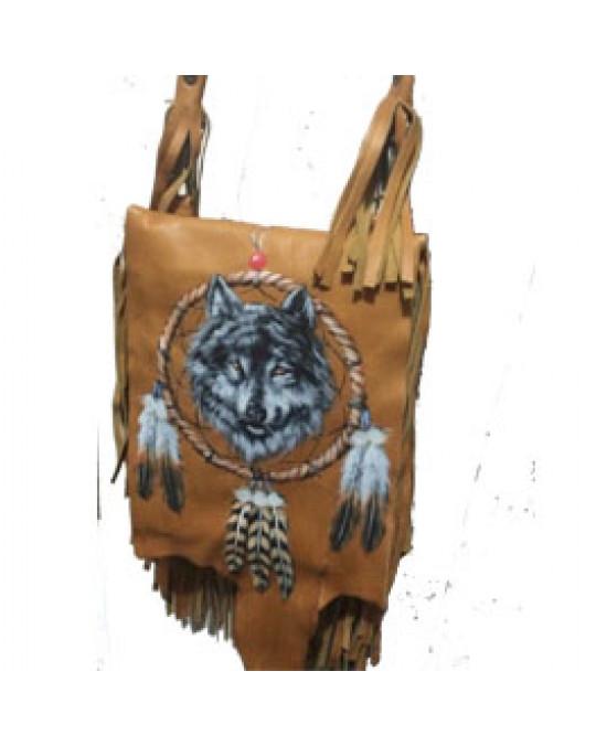 Ethno Tasche, von Hand mit Traumfänger-Wolf bemalt