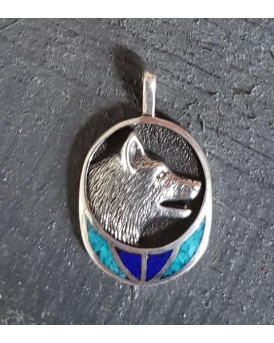 Silberanhänger -  Wolf  - mit Türkis-Inlay