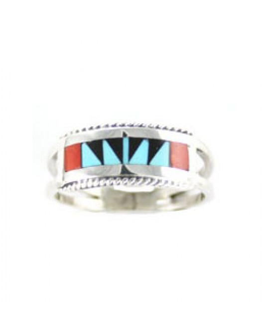 Zuni Inlayring, multicolor
