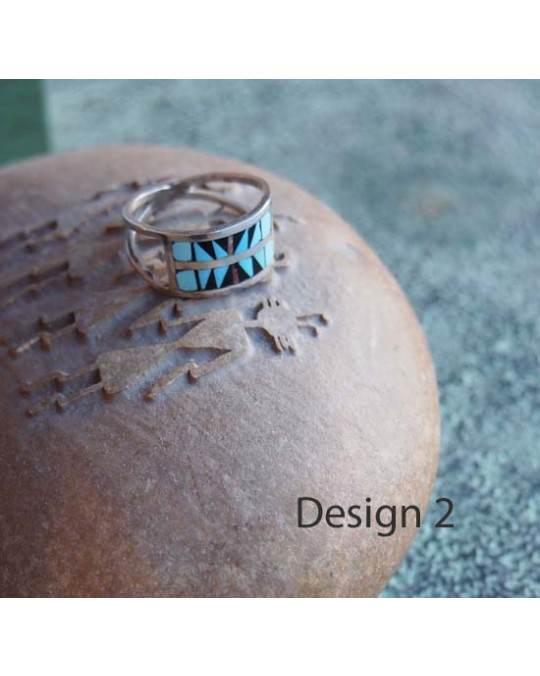 Zuni Inlayring, multicolor, breit